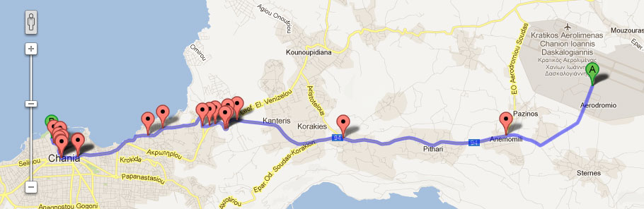 How to reach our hotel from the Chania Airport: